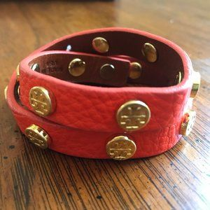 Tory Burch Orange Double-Wrap Leather Bracelet